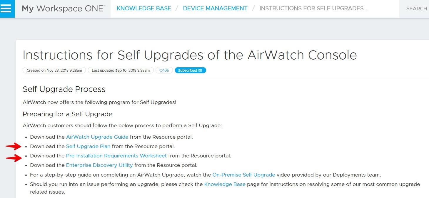 Upgrade VMware AirWatch/Workspace ONE from version 9 1 to