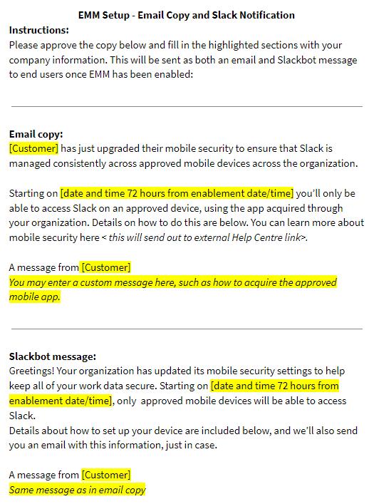 Copy of EMM Setup - Email Copy and Slack Notificat