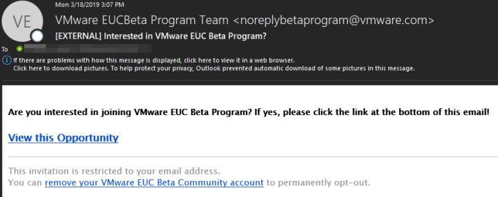 [EXTERNAL] Interested in VMware EUC Beta Program_