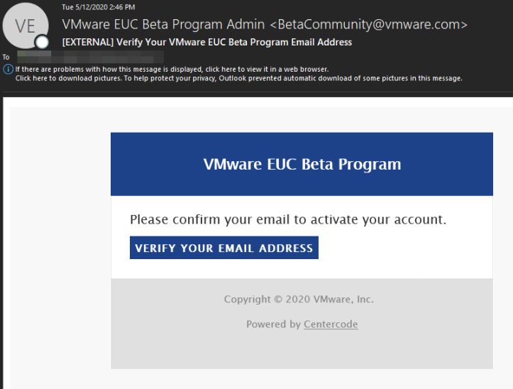 [EXTERNAL] Verify Your VMware EUC Beta Program Ema