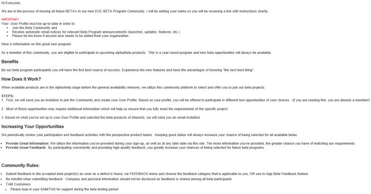 [EXTERNAL] VMware EUC BETA Program Community - Mes
