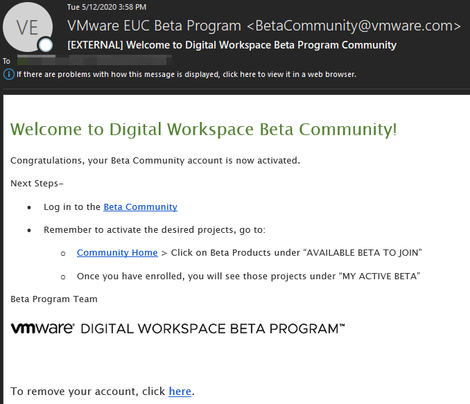 [EXTERNAL] Welcome to Digital Workspace Beta Progr