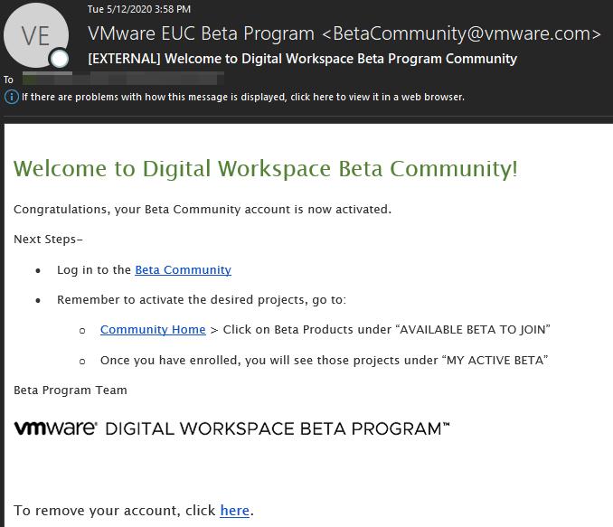 [EXTERNAL] Welcome to Digital Workspace Beta Progr