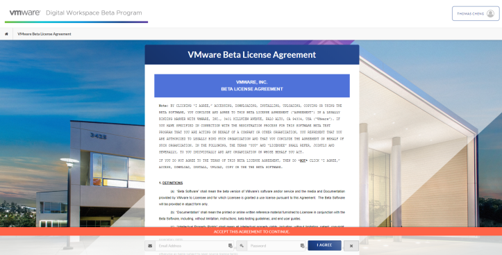 VMware Beta License Agreement - Google Chrome 2020