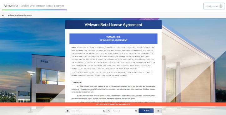 VMware Beta License Agreement - Google Chrome 2020