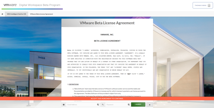 VMware Beta License Agreement - WS1 Intelligent Hu