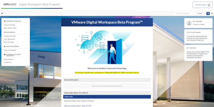 VMware Digital Workspace Beta Program™ - Google Ch