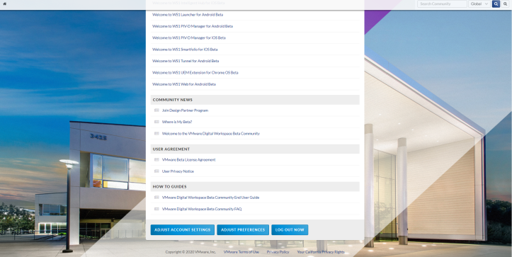 VMware Digital Workspace Beta Program™ - Google Ch1