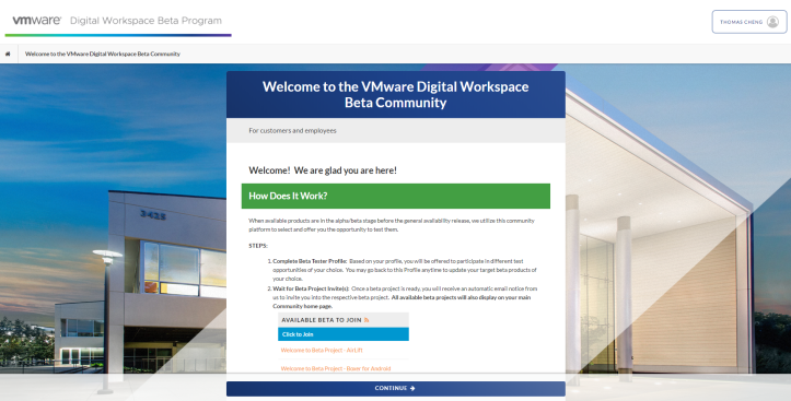 Welcome to the VMware Digital Workspace Beta Commu