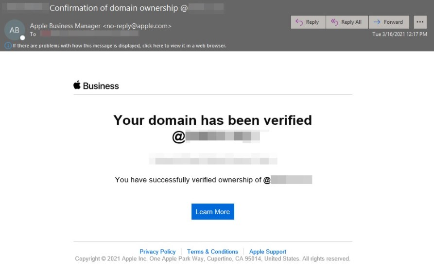 Verify existing domains in Apple Business Manager4